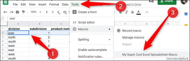 Si hizo una macro referenciada relativa, resalte las celdas, luego haga clic en Herramientas> Macros> YourMacroName, para ejecutar la macro