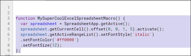 Resalte y copie la función de la macro con Ctrl + C