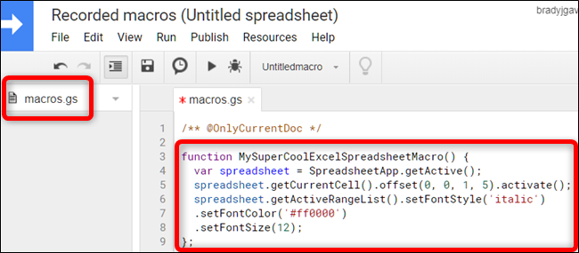 In the macros.gs file, paste the macro's function from the first spreadsheet