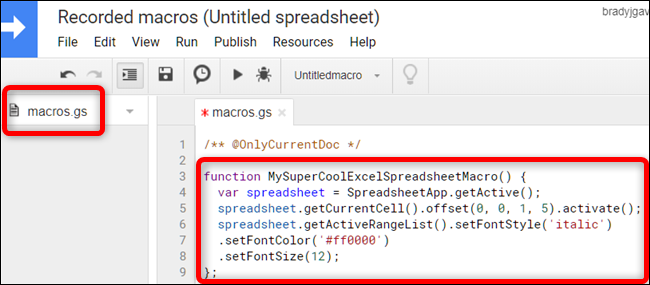 In the macros.gs file, paste the macro function from the first worksheet