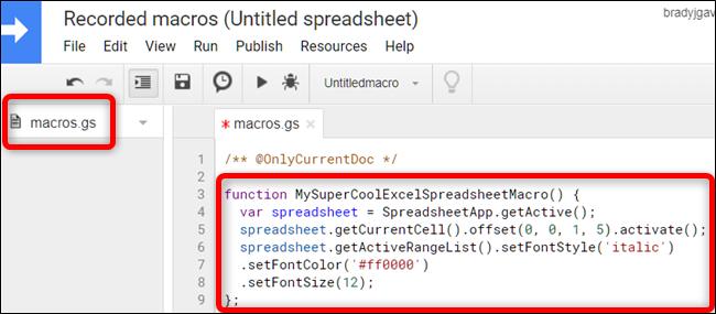 En el archivo macros.gs, pegue la función de la macro de la primera hoja de cálculo