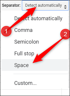 Click the drop-down menu and select Space from the list provided