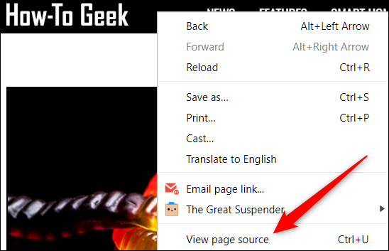 Right-click a page, then click on View Page Source
