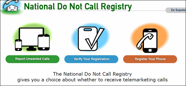 A screenshot of the national Do Not Call registry homepage.