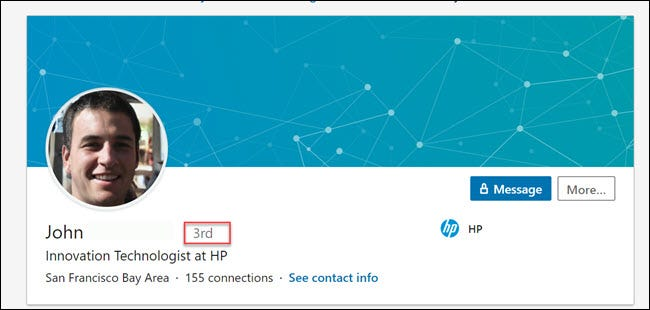 LinkedIn profile shot, showing a 3rd connection to the logged in profile.