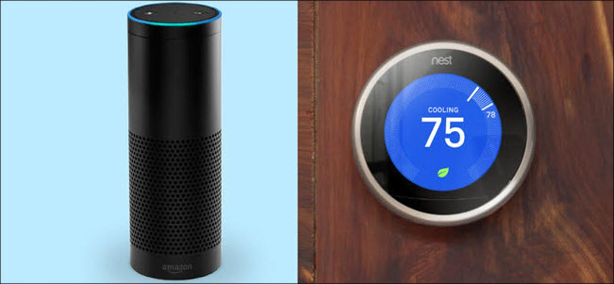 An Amazon Echo next to a Google Nest