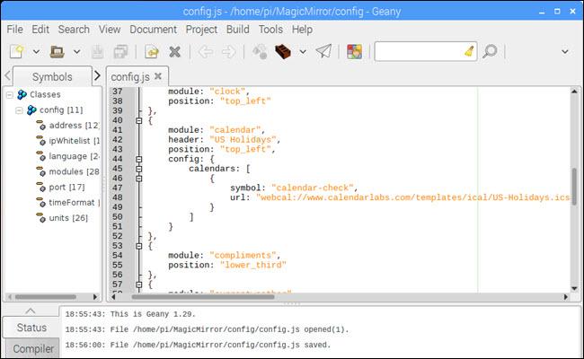 Config.js focused on calendar module
