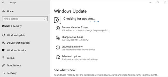 Check for updates Window