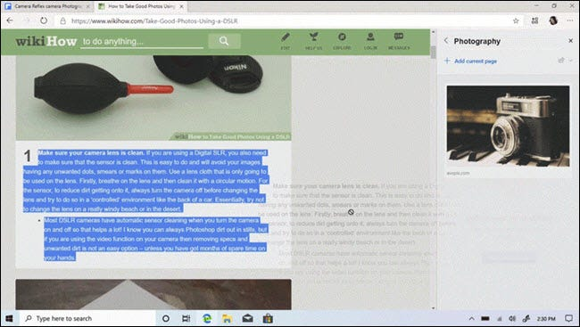 New Collections feature in Microsoft Edge