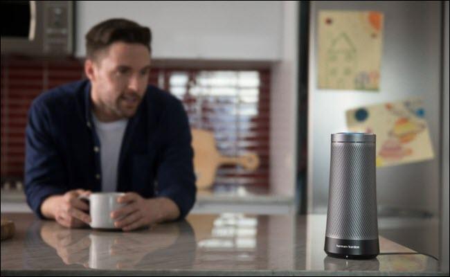 Harmon Kardon Invoke Cortana speaker on a kitchen counter.