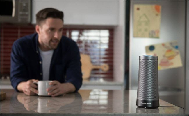 Harmon Kardon Invoke Cortana speaker on a kitchen counter.
