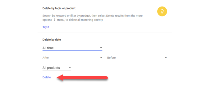 Delete by topic or product dialog with arrow pointing to delete option.
