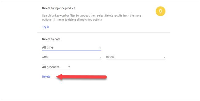 Eliminar por tema o cuadro de diálogo de producto con la flecha apuntando a la opción de eliminación.