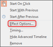 Effect options
