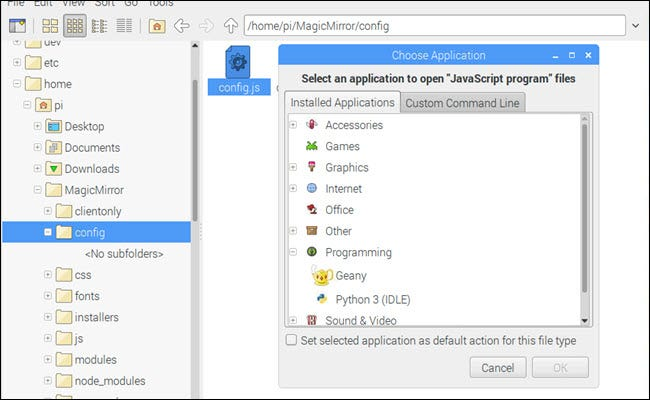 File manager with open with dialog showing.