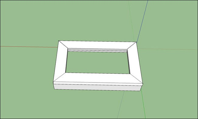 A sketchup design of a mitered corner frame with box sides.