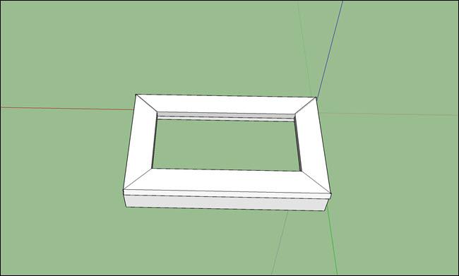 A sketchup design of a mitered corner frame with box sides.
