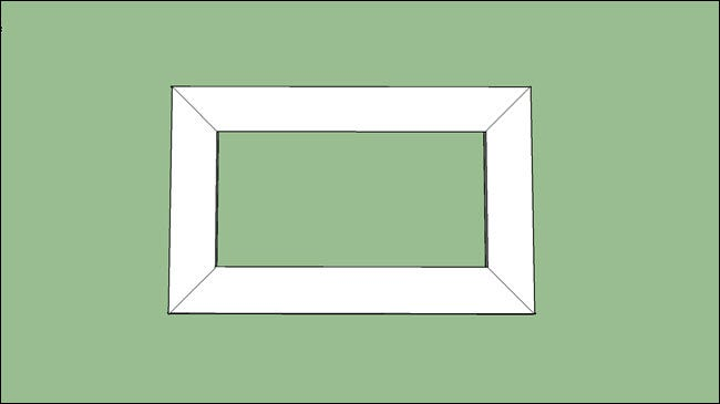 A rectangle, showing boards with 45 degree angles cut.