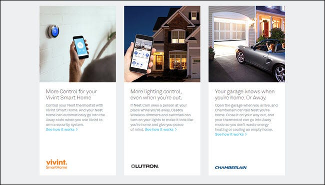 Works with Nest information showing Vivint, Lutron, and Chamberlain integrations