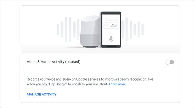 Google Voice and Audio activity dashboard with toggle off.