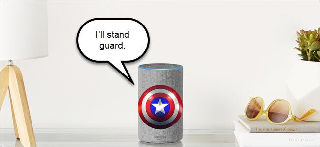 Amazon Echo with Captain America shield, declaring it will stand guard.
