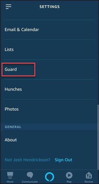 Alexa app with box around Guard option.