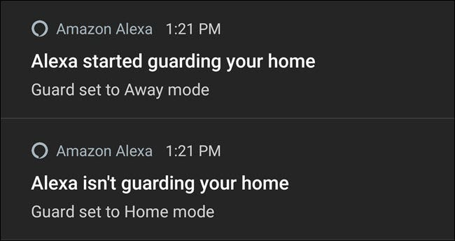Alexa notifications turning guard on and off.