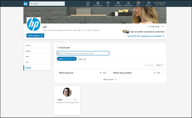 HP employee listing on linkedin, showing our fake profile as an employee.