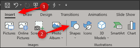 Insert a shape in powerpoint