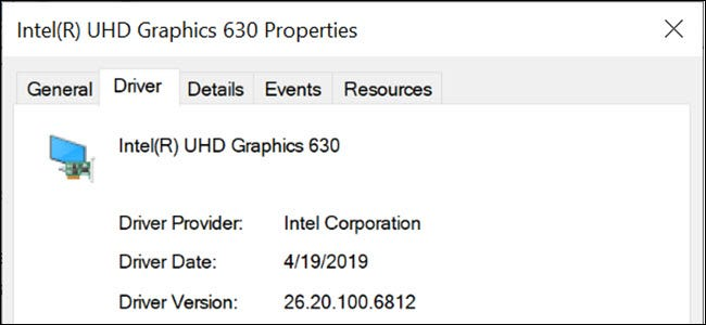 Intel graphics driver properties in Windows