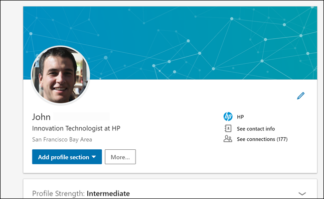 """Linkedin profile of our """"John"""" showing 177 connections and an HP job listing."""