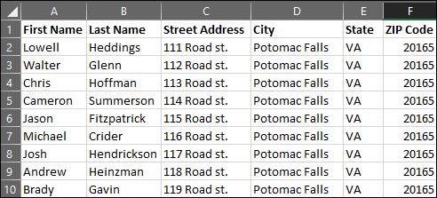 Lista de correo en Excel