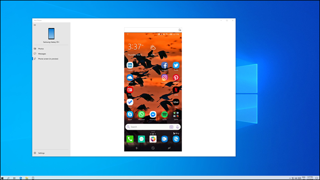 Android phone screen mirrored onto Windows PC