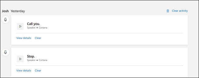 Microsoft Privacy dashboard with Cortana recordings.