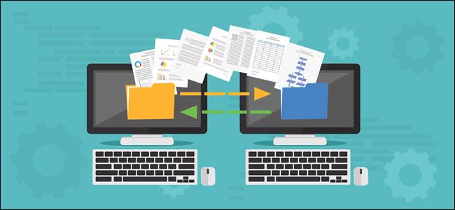 Copy File, Data Exchange. Transfer file concept - Vector