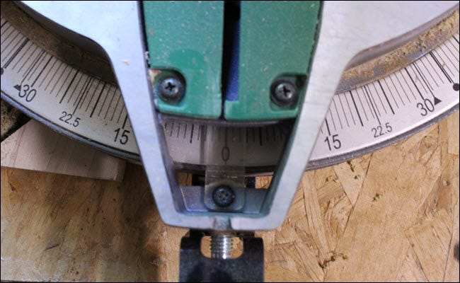 Miter saw set to 0 for cut