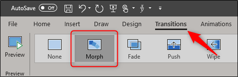 Morph transition in Powerpoint