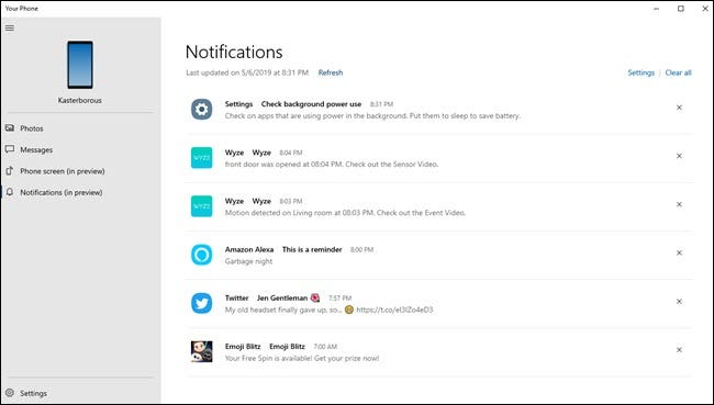 Your Phone PC app showing various notifications from Wyze, Alexa, Android settings, and twitter.