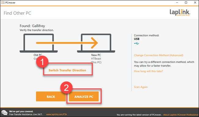 """Transfer dialog with boxes around """"switch transfer direction"""" and """"analyze pc"""" boxes."""