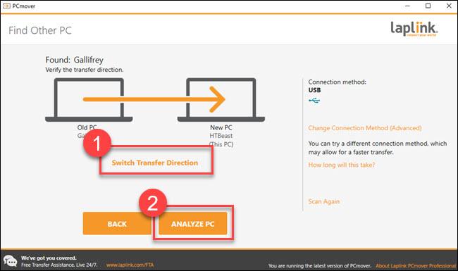 """Transferencia de diálogo con cuadros alrededor de los cuadros """"cambiar dirección de transferencia"""" y """"analizar PC""""."""