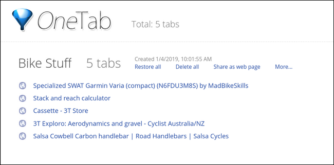 one tab extension description from chrome store