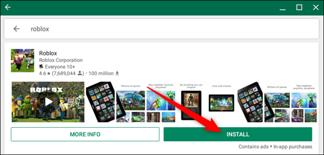 Click Install next to the Roblox game app in the Play Store