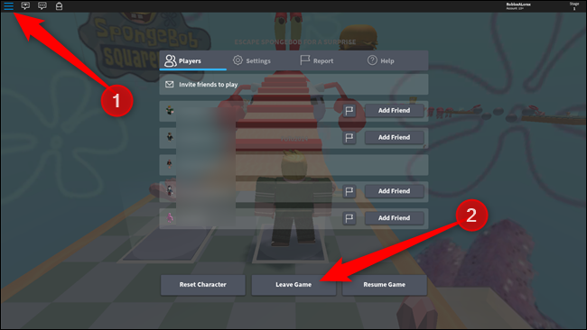 To leave a game, click the Hamburger icon, then on Leave Game