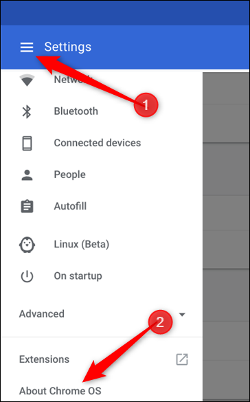 Click the Hamburger menu, then on About Chrome OS