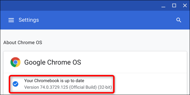 After your Chromebook restarts, you will see Your Chromebook is up to date when you check for updates