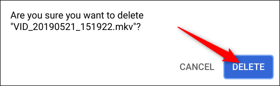 Confirm that you want to delete the file, then click Delete