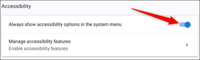 Toggle the Accessibility icon to always show in the system tray