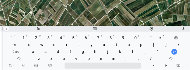 The on-screen keyboard docks itself on the bottom of the screen