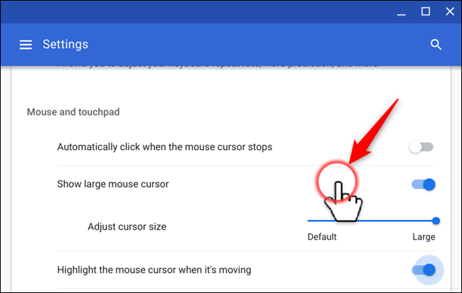 Highlight the mouse cursor with a red circle when it moves on-screen