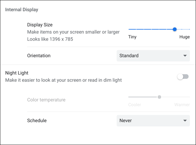 A list of additional Display Device settings